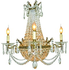 French Louis XVI Regency Empire, Cut Crystal & Bronze 10-Light Basket Chandelier