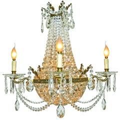 French Louis XVI Regency Empire Cut Crystal & Bronze 10 Light Basket Chandelier