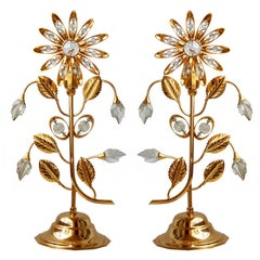 Pair of Hollywood Regency Gilt Brass & Crystal Flowers Table Lamps Palwa Style
