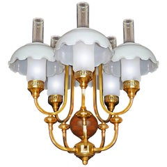 French Art Deco Colonial Library Oil Lamp Chandelier Gilt Brass Wood Opal Glass