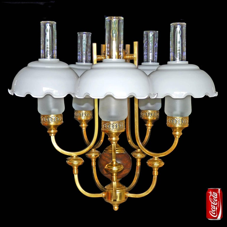 French Art Deco Colonial Library Oil Lamp Chandelier Gilt