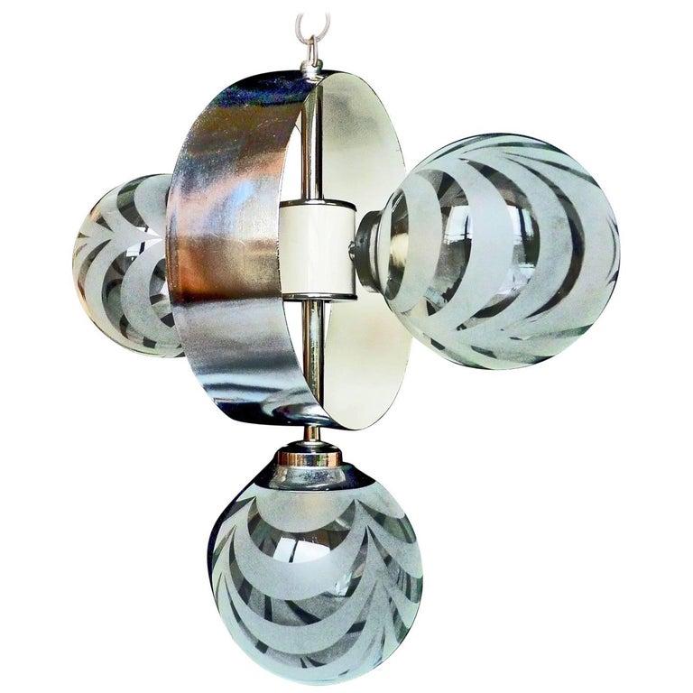 Vintage Moderne Chrome Atomare Space Age Sputnik Orbit Kronleuchter 1