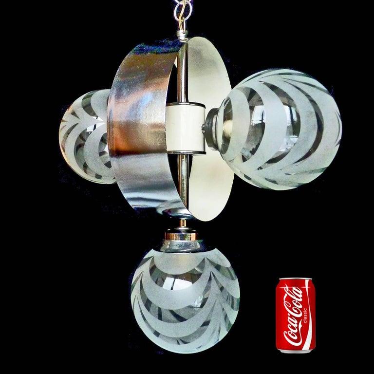 Vintage Moderne Chrome Atomare Space Age Sputnik Orbit Kronleuchter 2