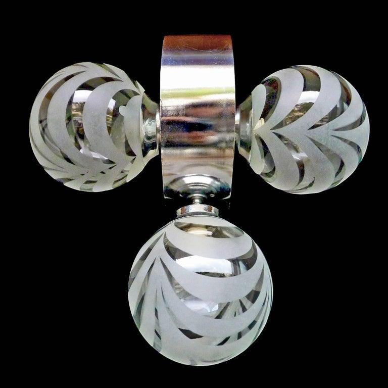 Vintage Moderne Chrome Atomare Space Age Sputnik Orbit Kronleuchter 3