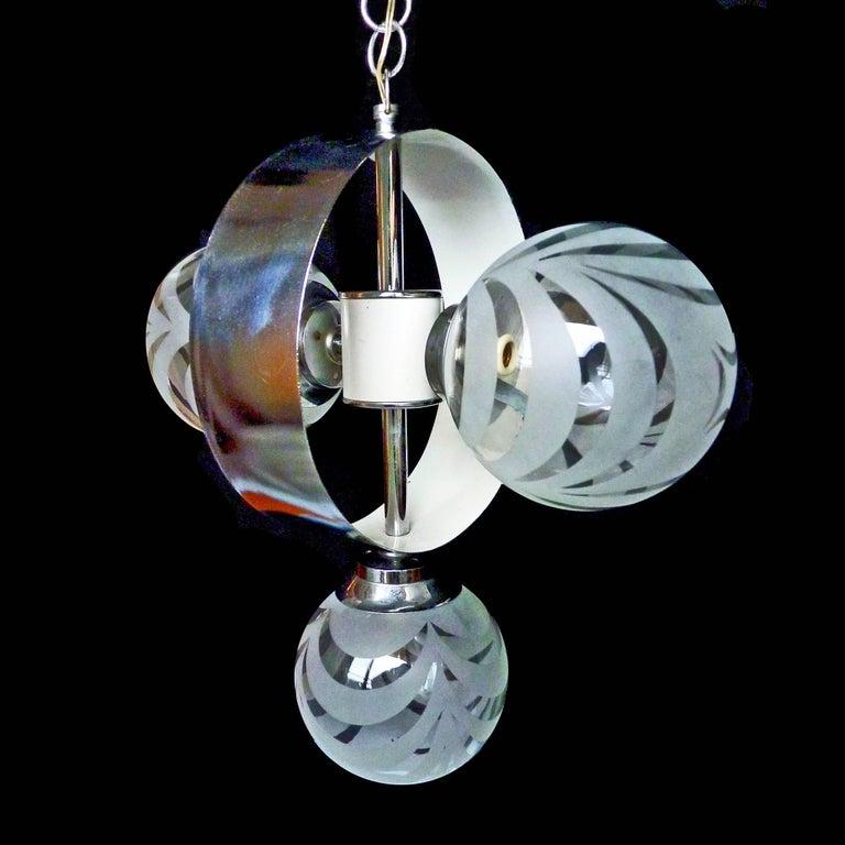 Vintage Moderne Chrome Atomare Space Age Sputnik Orbit Kronleuchter 4