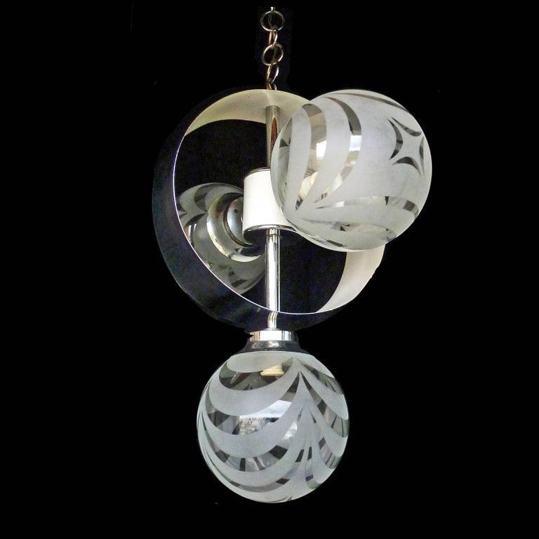 Vintage Moderne Chrome Atomare Space Age Sputnik Orbit Kronleuchter 8