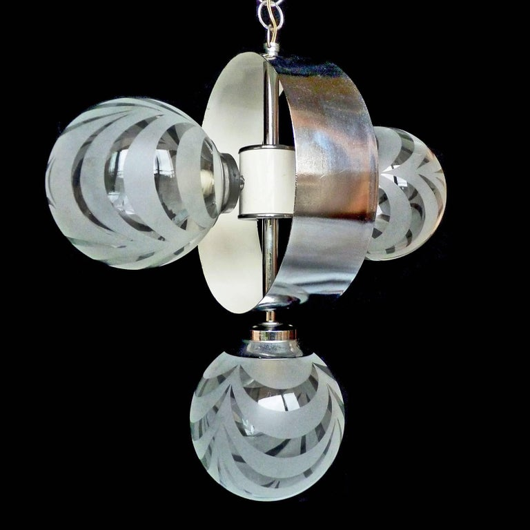 Vintage Moderne Chrome Atomare Space Age Sputnik Orbit Kronleuchter 9