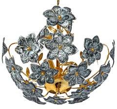 Vintage Mid-Century Italian Murano Black Flowers Art Glass Gilt Brass Chandelier