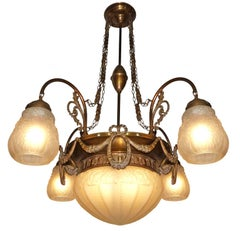 French Art Deco Art Nouveau, Gold & Bronze Color in Degué Style Glass Chandelier