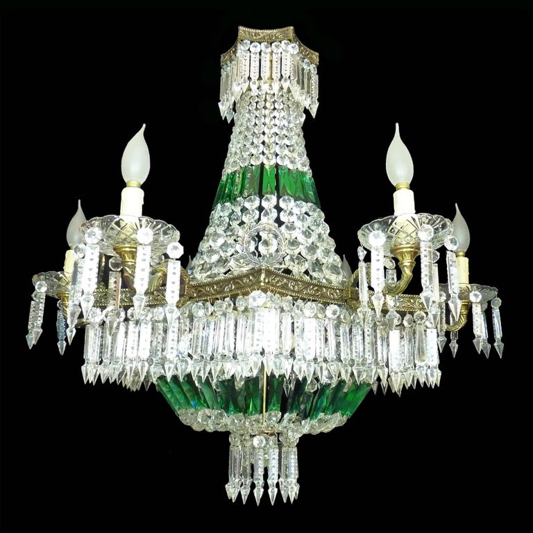 Stunning Monumental French Regency Empire emerald green cut crystal beads and swags, basket shaped and bronze chandelier with 15 light