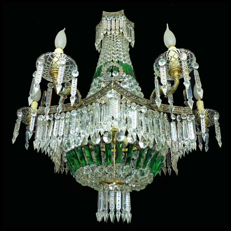 Hollywood Regency Monumental French Louis XV Empire Green Crystal Bronze 15light Basket Chandelier For Sale