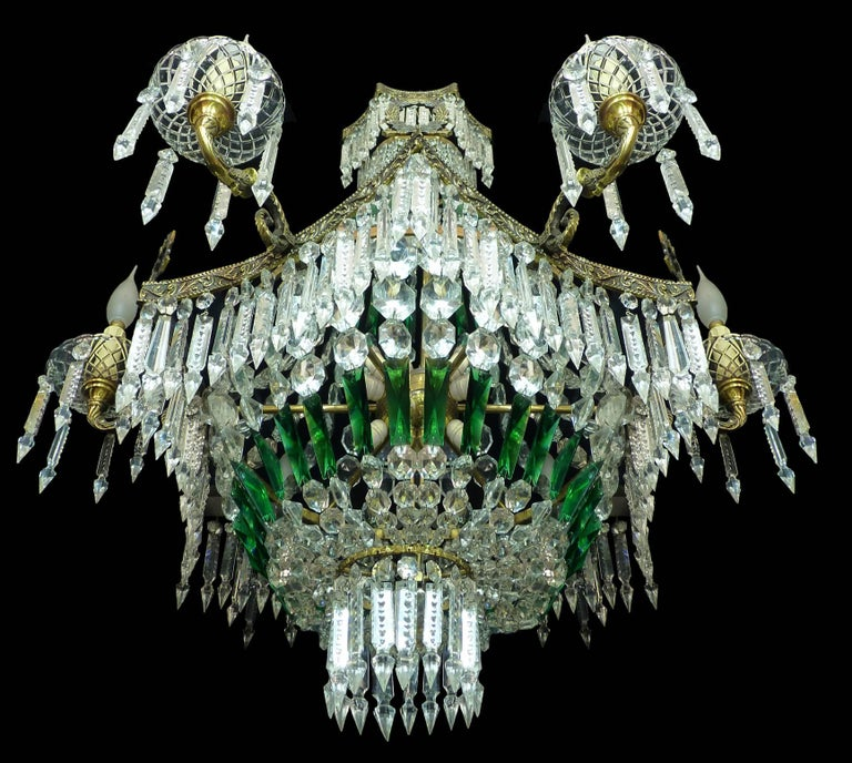 Monumental French Louis XV Empire Green Crystal Bronze 15light Basket Chandelier In Excellent Condition For Sale In Coimbra, PT