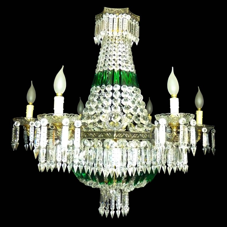 20th Century Monumental French Louis XV Empire Green Crystal Bronze 15light Basket Chandelier For Sale
