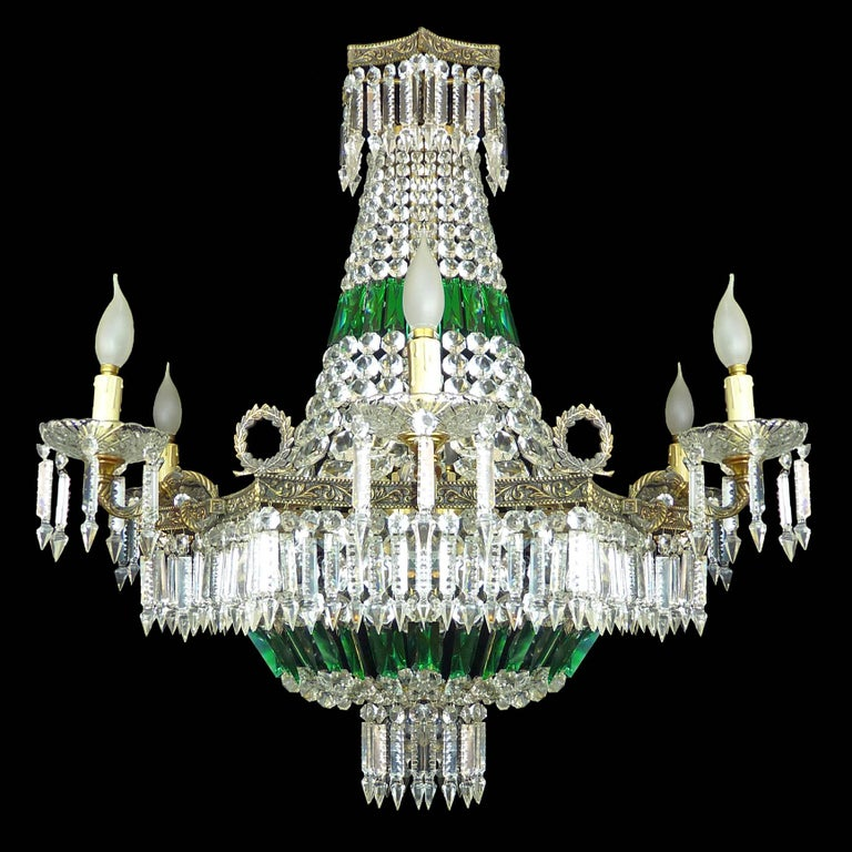 Brass Monumental French Louis XV Empire Green Crystal Bronze 15light Basket Chandelier For Sale