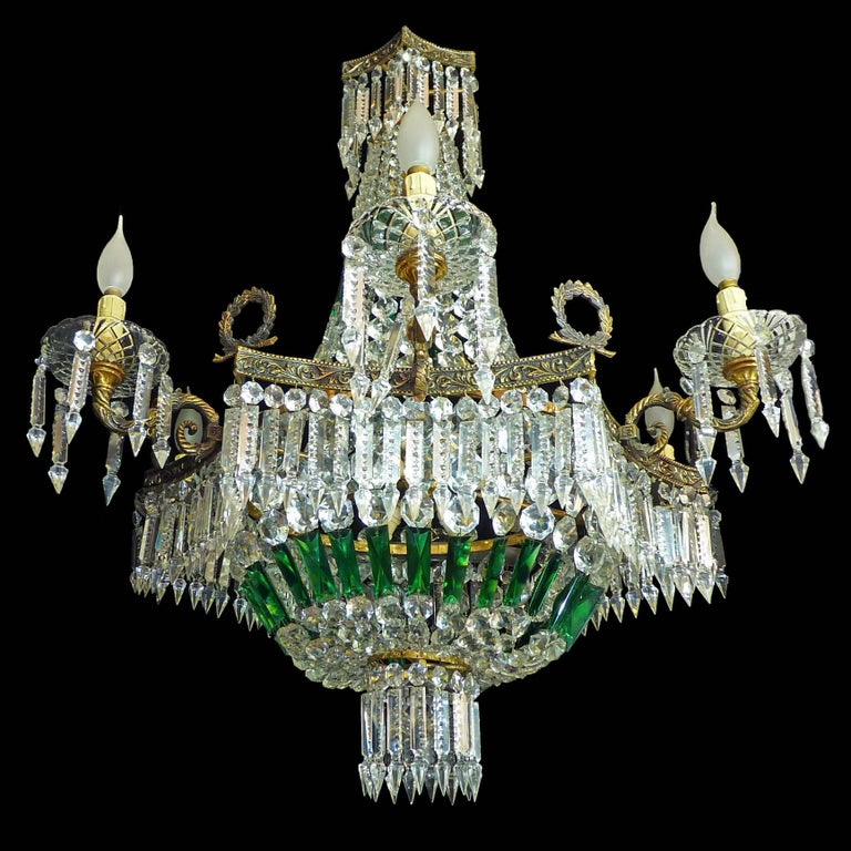 Monumental French Louis XV Empire Green Crystal Bronze 15light Basket Chandelier For Sale 1