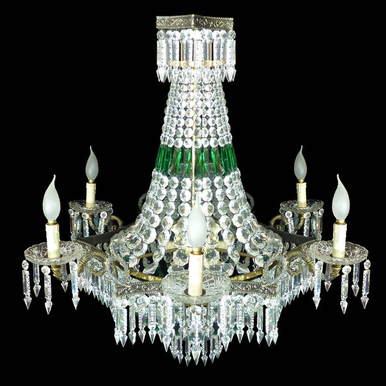 Monumental French Louis XV Empire Green Crystal Bronze 15light Basket Chandelier For Sale 2