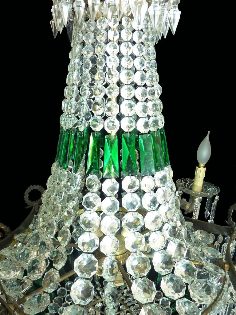 Monumental French Louis XV Empire Green Crystal Bronze 15light Basket Chandelier For Sale 3