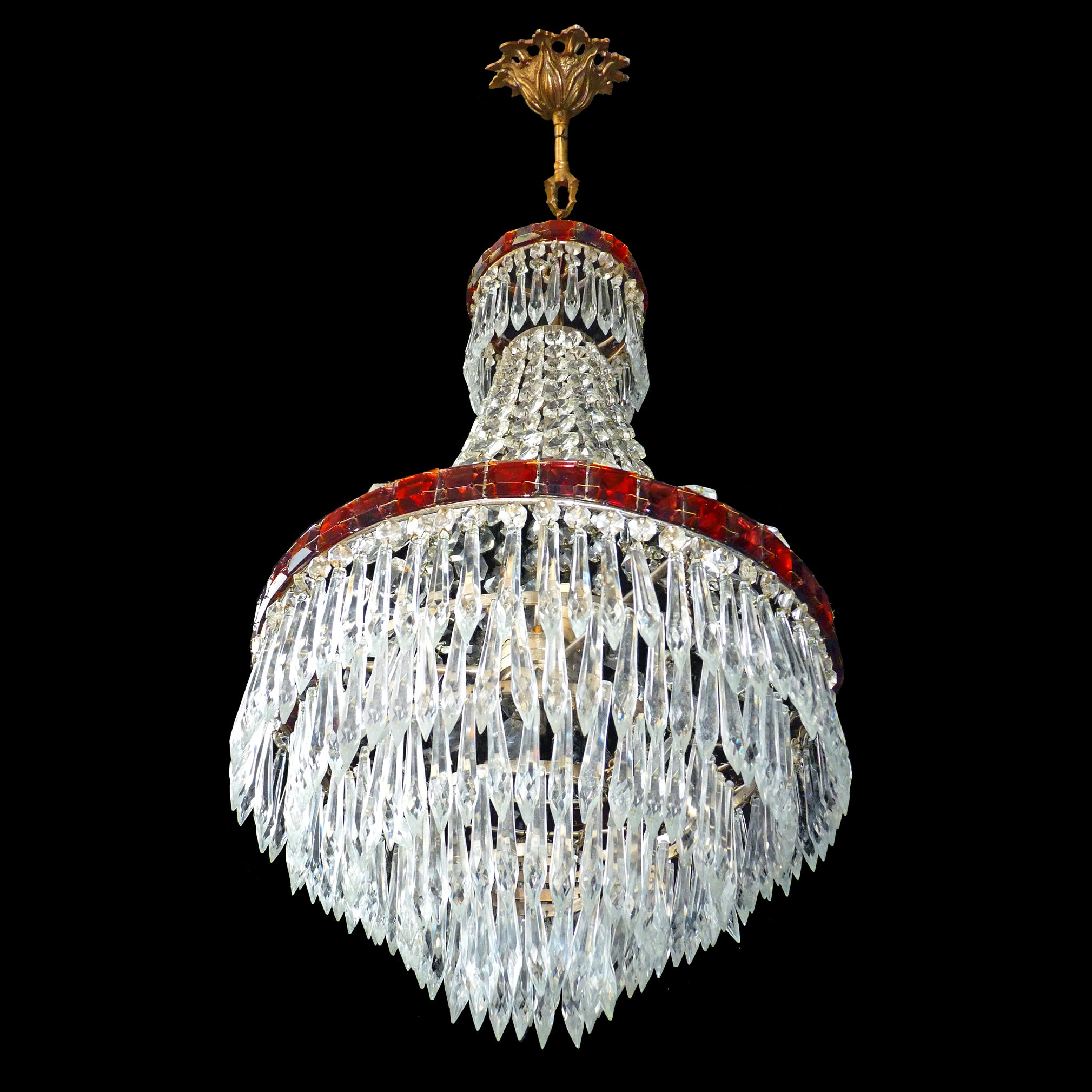 1940 french empire cascade wedding cake ruby red lead crystal 1940 french empire cascade wedding cake ruby red lead crystal chandelier for sale at 1stdibs arubaitofo Image collections