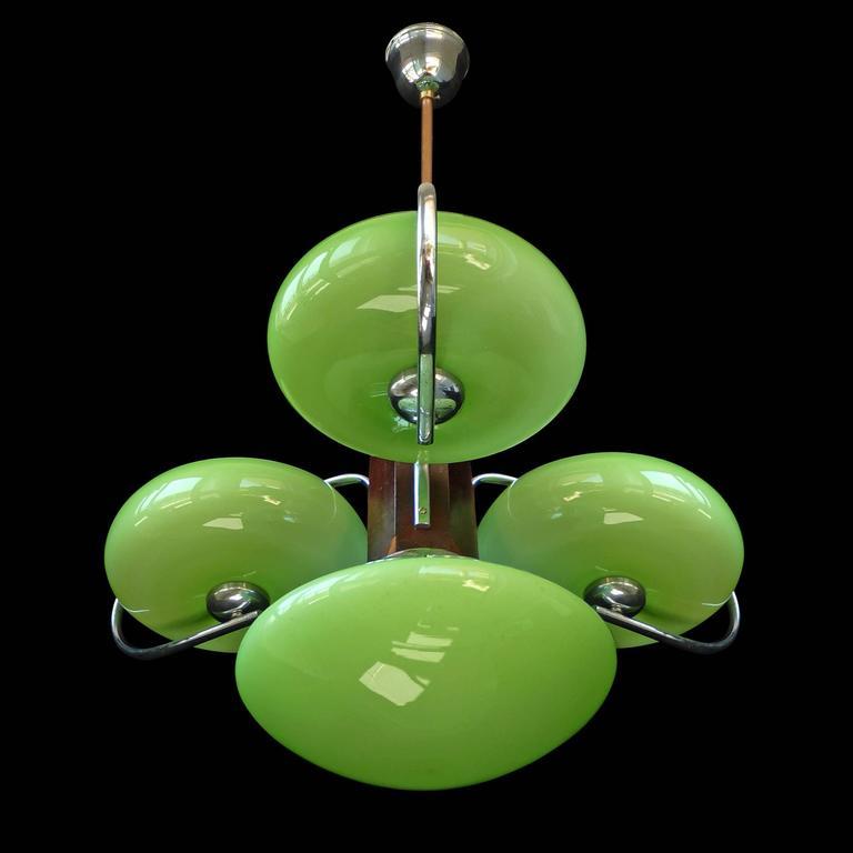 Antique French Art-Deco Opaline Green Glass Shades/Four-Light Chrome ...