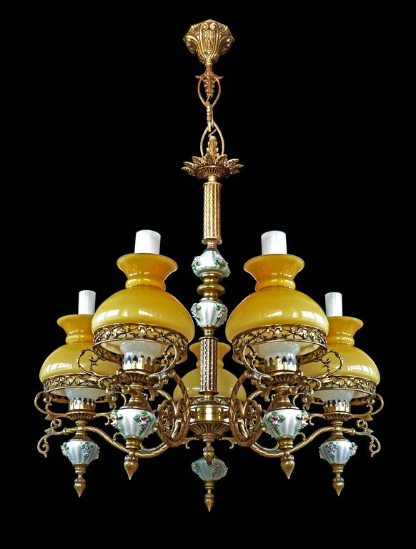 Brass Antique French Victorian Porcelain/Bronze/Opaline Yellow Glass Shades Chandelier For Sale