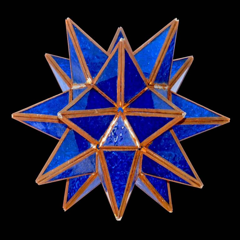 Hand-Crafted Tunisian Deep Blue Glass Pendant Star Shape Handmade Ceiling Lamp or Light