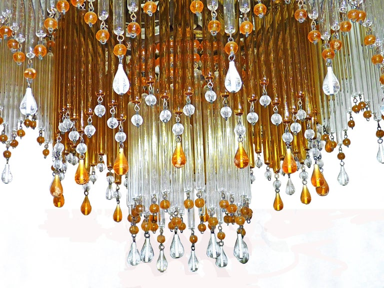 Italian Art Deco/ Art Nouveau Amber and Clear Beaded Glass Murano Chandelier 7