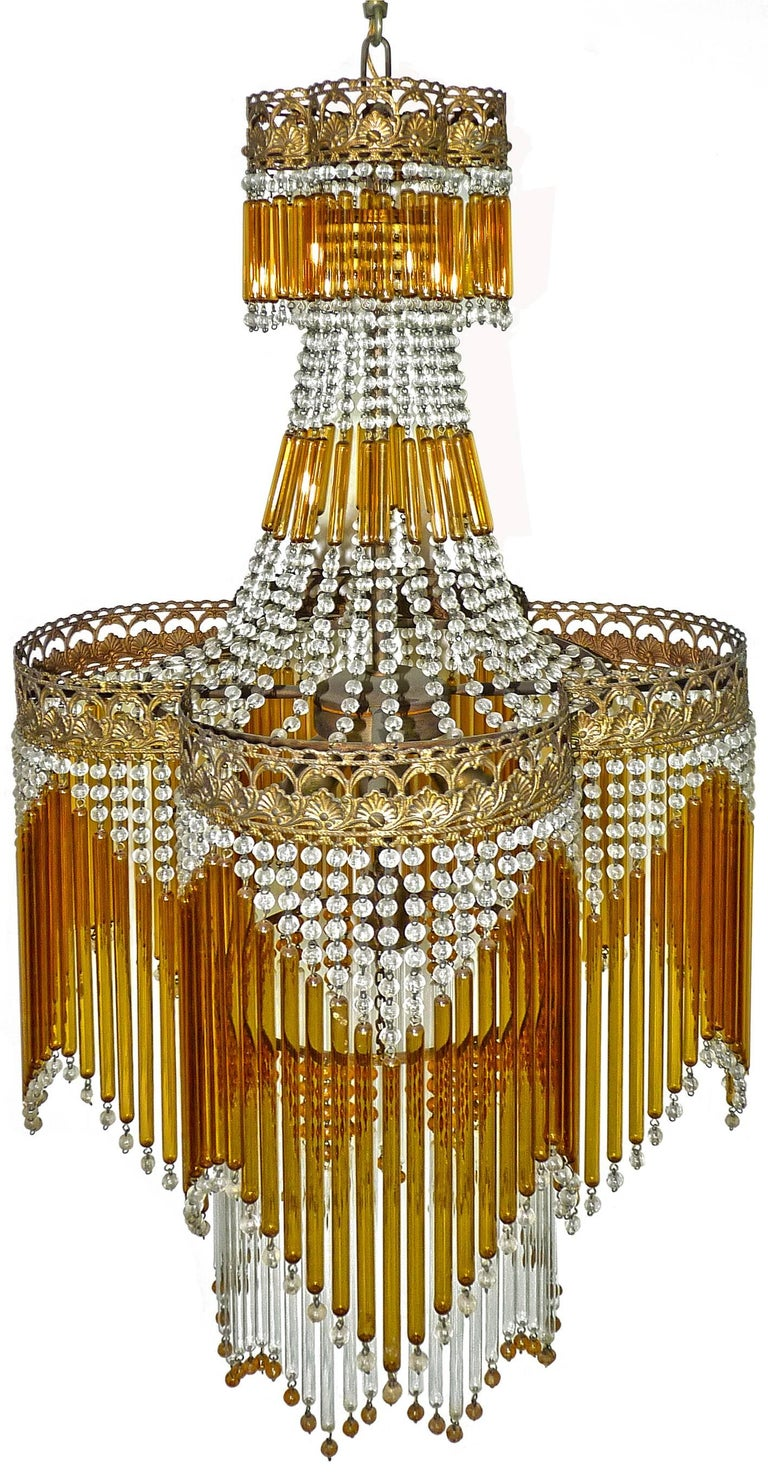 Italian Art Deco/Art Nouveau Amber and Clear Beaded Glass Murano Chandelier 2