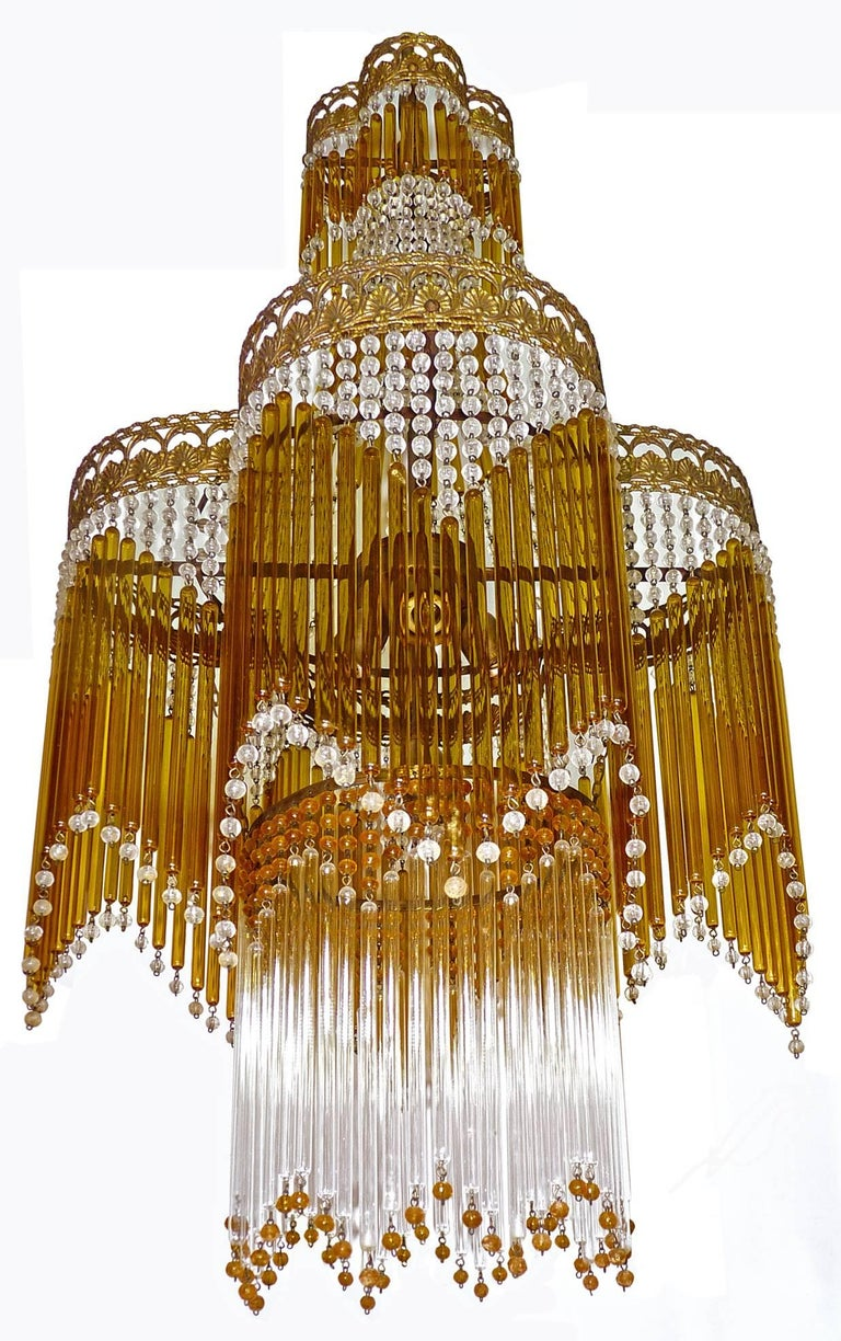 Italian Art Deco/Art Nouveau Amber and Clear Beaded Glass Murano Chandelier 3