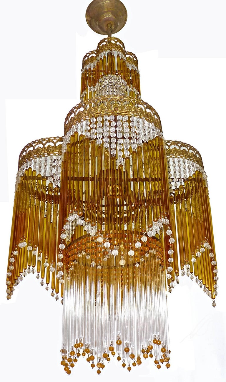 Italian Art Deco/Art Nouveau Amber and Clear Beaded Glass Murano Chandelier 5