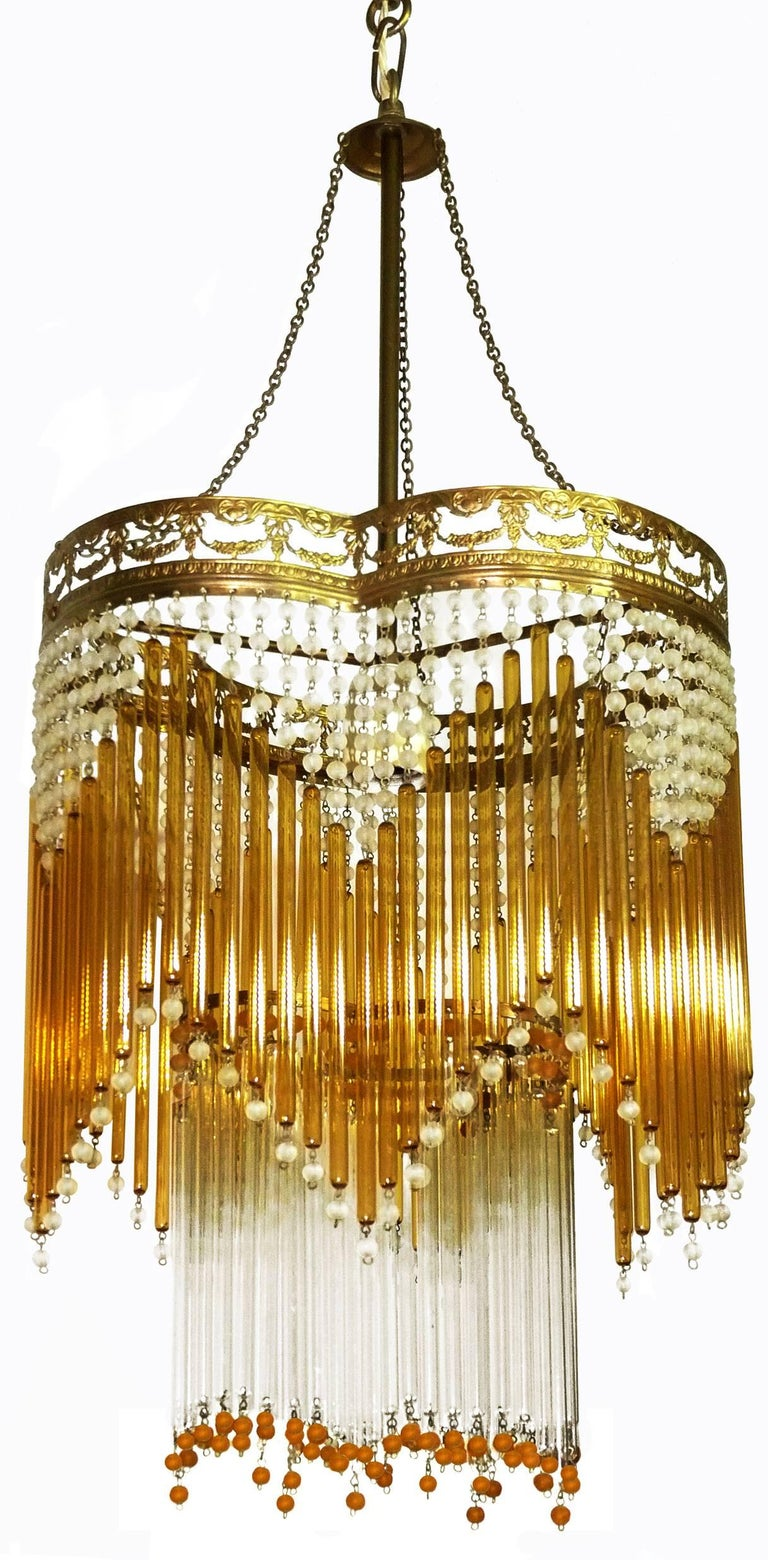 20th Century Italian Art Deco/Art Nouveau Amber and Clear Beaded Glass Murano Chandelier For Sale