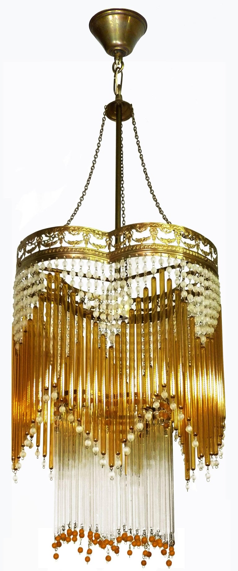 Metal Italian Art Deco/Art Nouveau Amber and Clear Beaded Glass Murano Chandelier For Sale