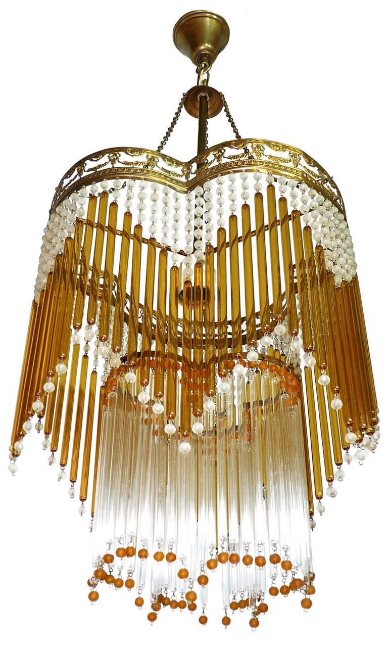 Italian Art Deco/Art Nouveau Amber and Clear Beaded Glass Murano Chandelier 6