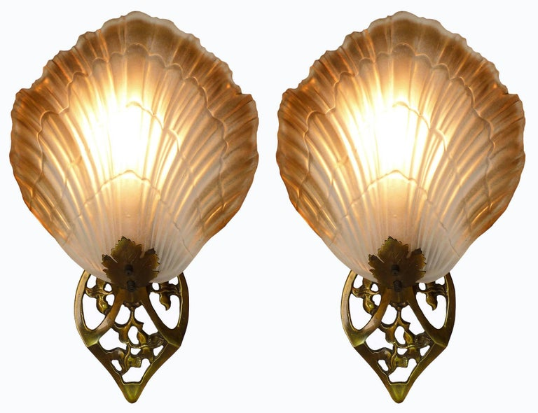 Pair of french art nouveau frosted glass lamp shades and brass wall pair of french art nouveau thick frosted glass lamp shades and gilt brass wall lights or aloadofball Images