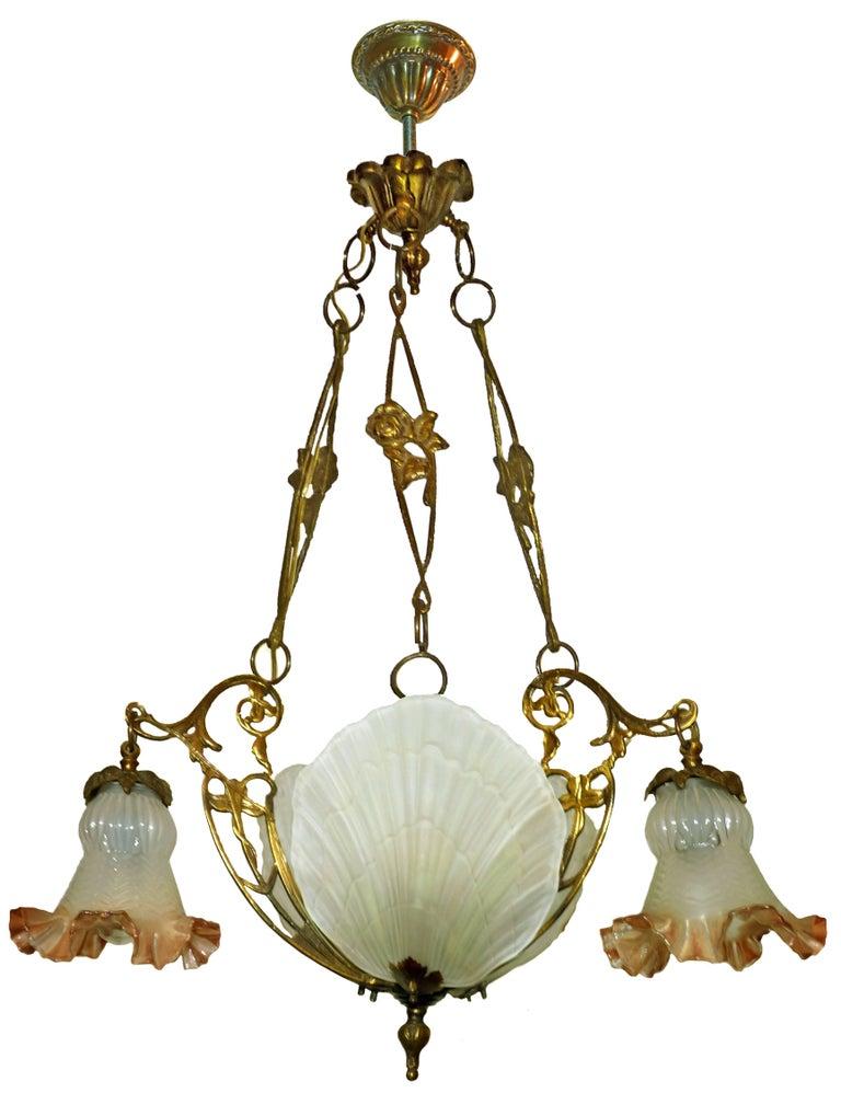 French art nouveau art deco chandelier in bronze and - Art deco and art nouveau ...