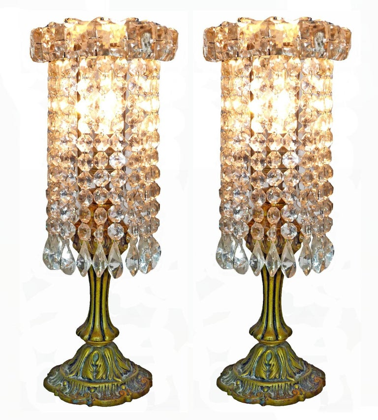 Hollywood Regency Pair of French Regency Empire in Bronze and Crystal Table Lamps For Sale