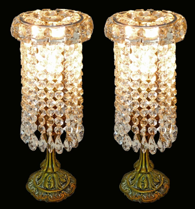 Pair of French Regency Empire in Bronze and Crystal Table Lamps For Sale 1