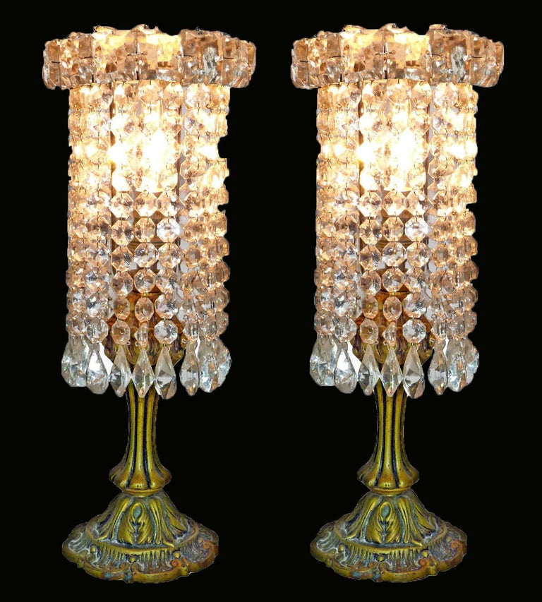 Pair of French Regency Empire in Bronze and Crystal Table Lamps For Sale 2