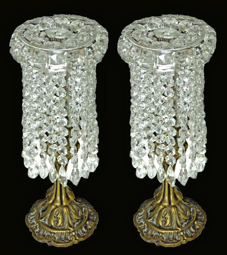 Pair of French Regency Empire in Bronze and Crystal Table Lamps For Sale 3