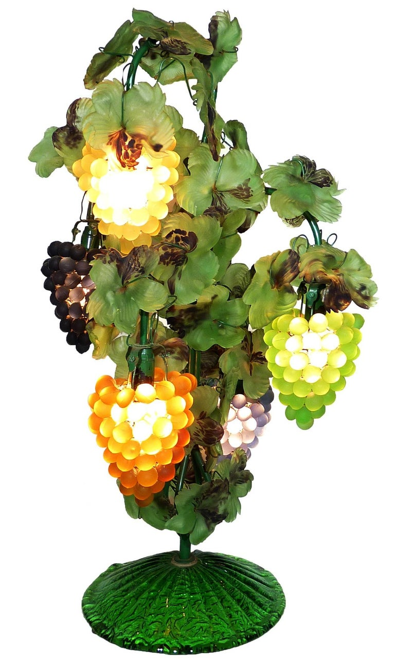 This a fabulous heavy five-light Venetian glass grape bunch and leaf floor or table lamp mimics the shape of a vine with clustered grapes as shades, handblown applied leaves in the style of Art Nouveau. 