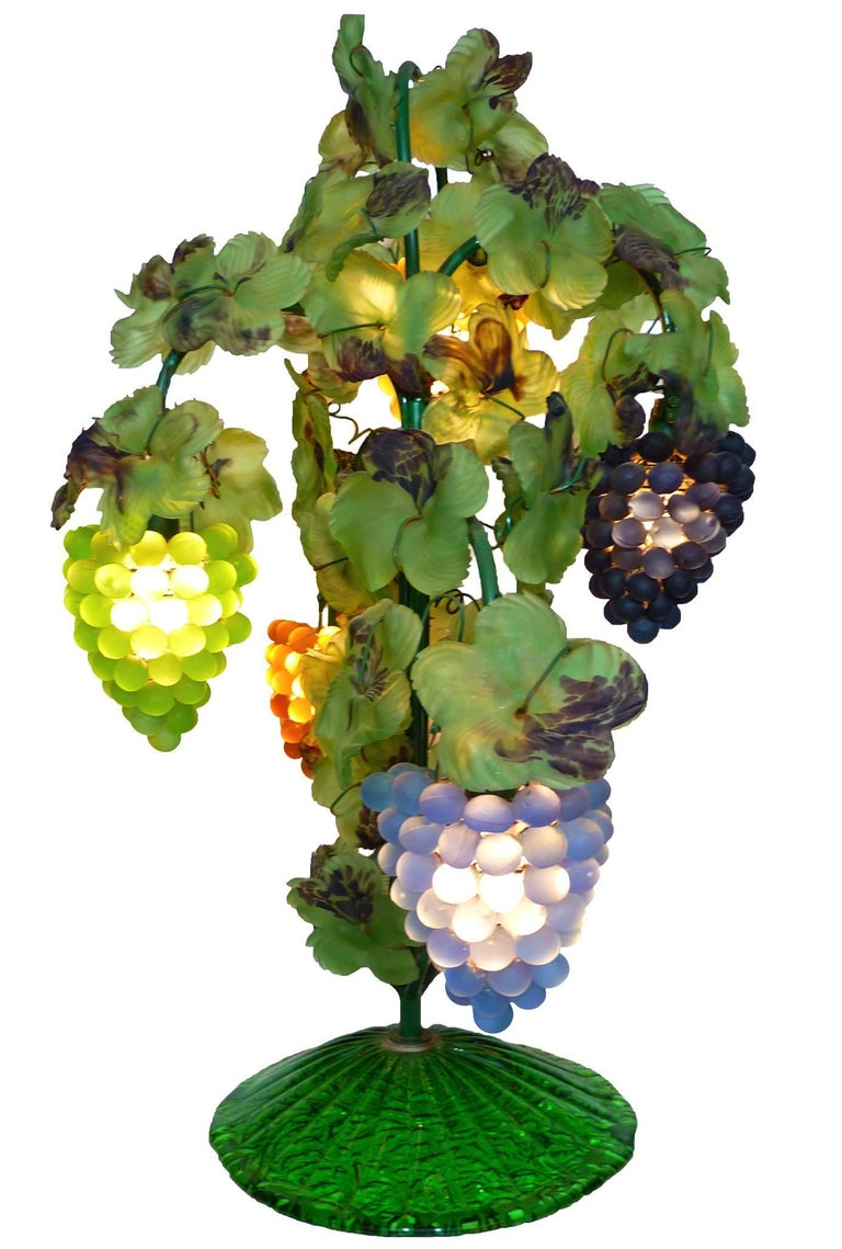 Art Nouveau Large Murano Grape, Leaf Art Glass Floor or Table Lamp For Sale