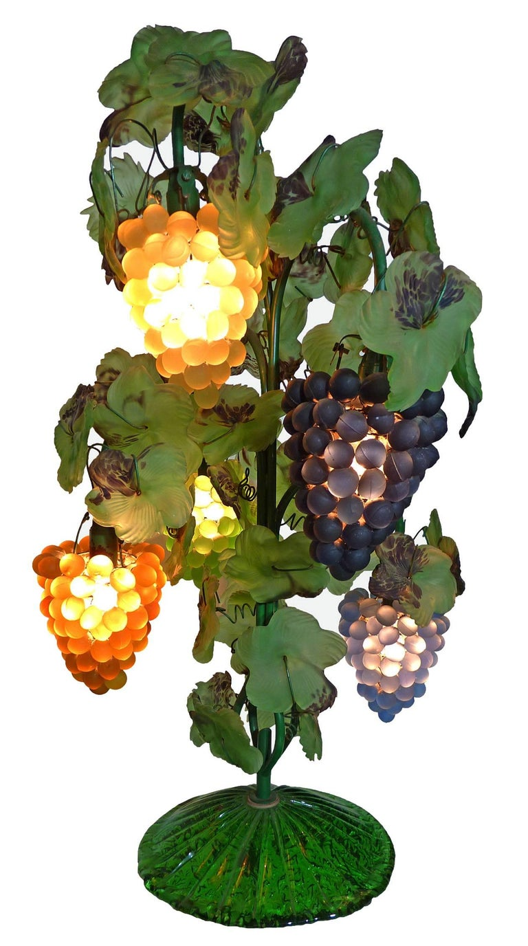 Italian Large Murano Grape, Leaf Art Glass Floor or Table Lamp For Sale