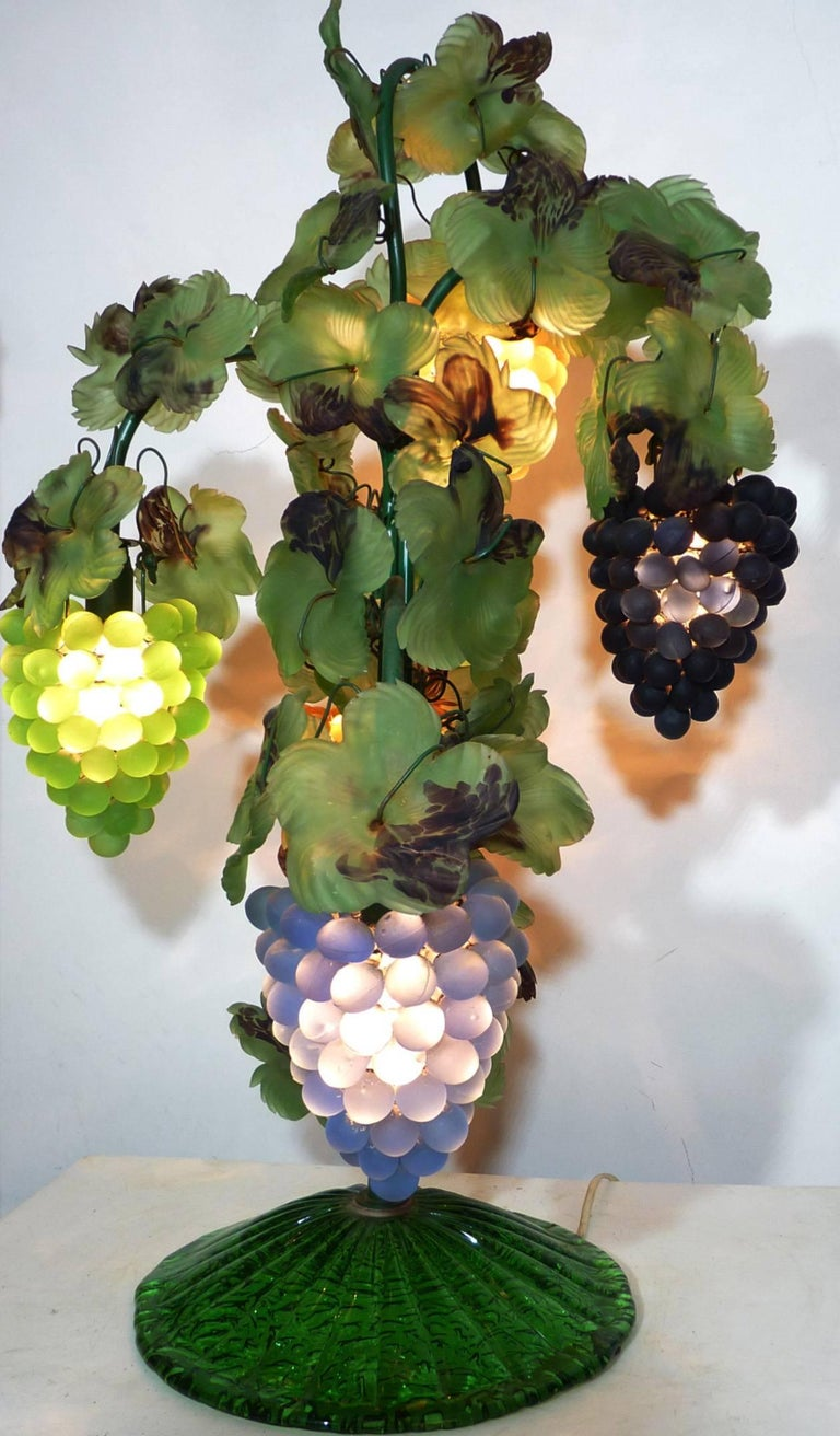 Large Murano Grape, Leaf Art Glass Floor or Table Lamp For Sale 1