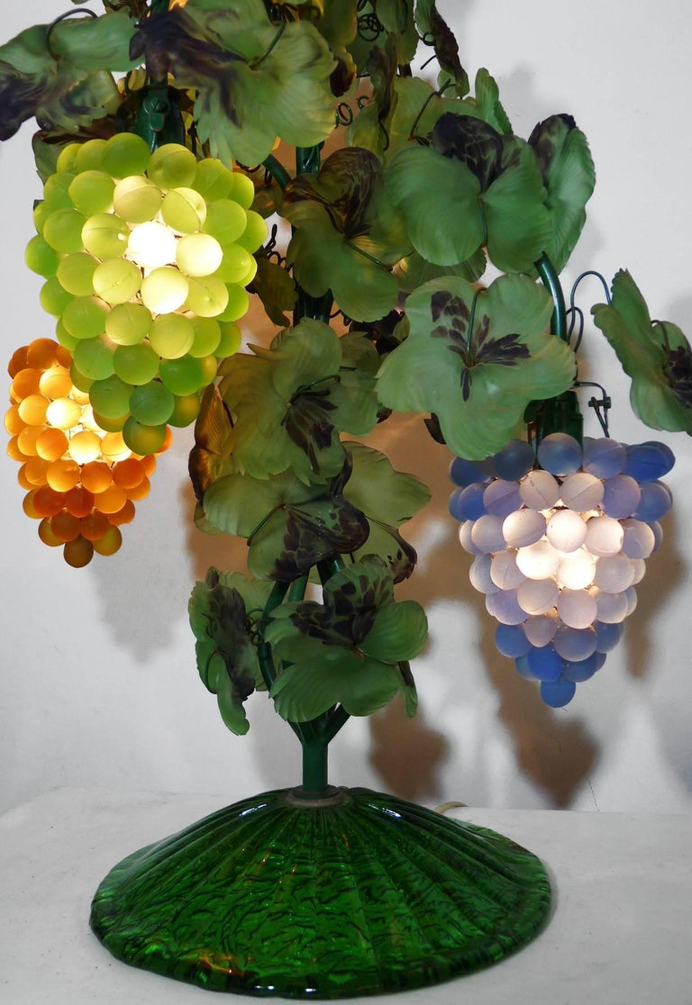Large Murano Grape, Leaf Art Glass Floor or Table Lamp For Sale 2