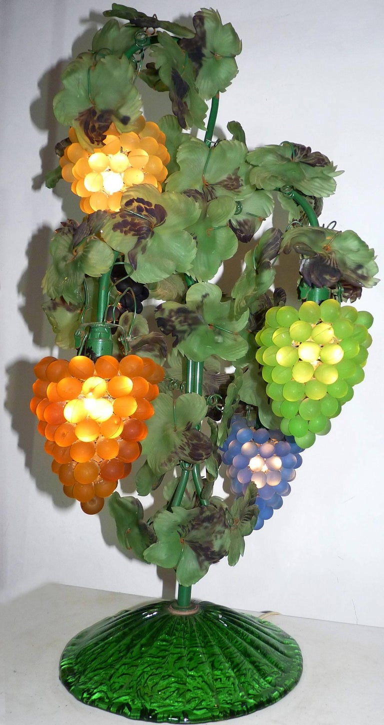 Large Murano Grape, Leaf Art Glass Floor or Table Lamp For Sale 4