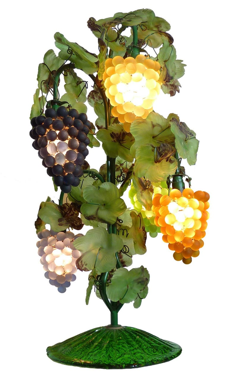Large Murano Grape, Leaf Art Glass Floor or Table Lamp In Excellent Condition For Sale In Coimbra, PT