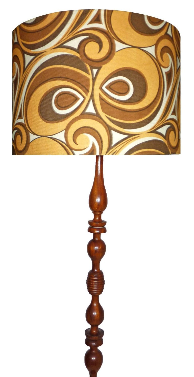 Modernist Twist Floor Lamp Mahogany Wood And Psychedelic