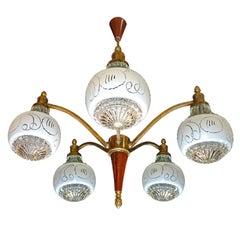Vintage Mid-Century Modernist Sputnik Chandelier / Wood /Brass Ceiling Lamp 1960