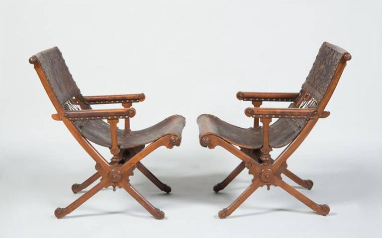 American Fine Pair of Aesthetic Movement Walnut and Embossed and Gilt-Leather Armchairs For Sale