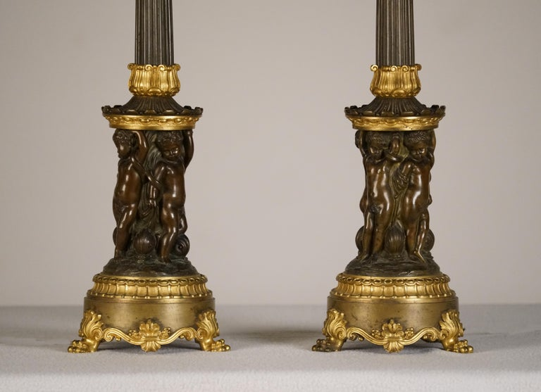 French Fine Pair of Empire Patinated & Gilt Bronze Candelabre, Mounted as Lamps For Sale
