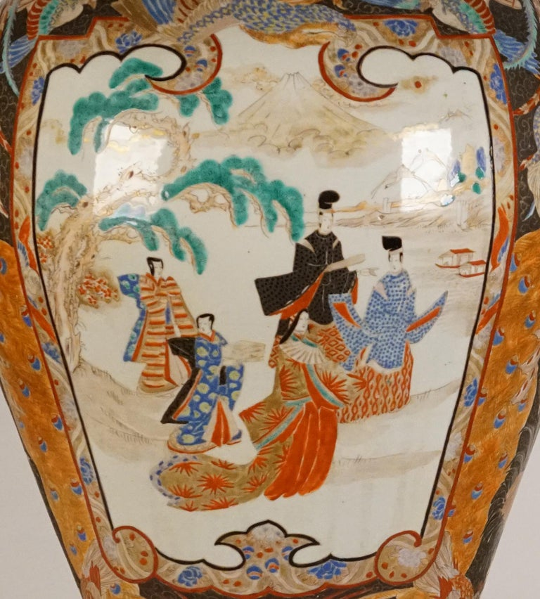 Japanese Pair of Large Porcelain Vases Kutani Period For Sale